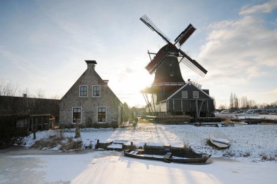 Houtzaagmolen De Rat in winter - FrieslandStock