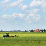 Boer in weiland bij Blauwhuis - FrieslandStock