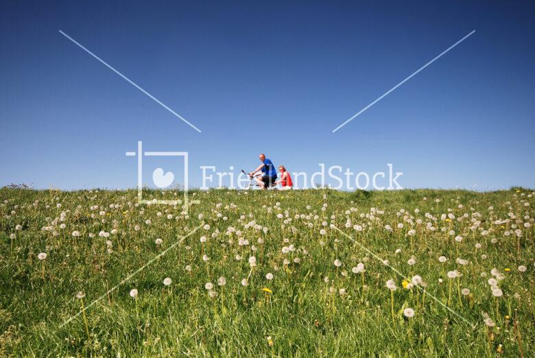 080506 Fietsers op oud zeedijk bij Laaksum - FrieslandStock