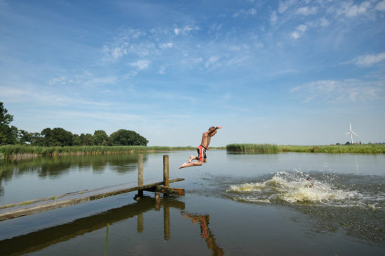 Zwemmen in poel net buiten Workum - FrieslandStock