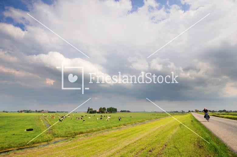 Zicht op oude zeedijk bij Schoterzijl - FrieslandStock